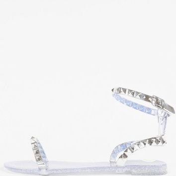 Studded Ankle Strap Glitter Jelly Sandals | MakeMeChic.com