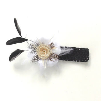 Black and white Headband, stretch with a clip on White flower with black feathers , girl's, women's,