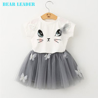 Bear Leader Girls Clothing Sets New Summer Fashion Style Cartoon Kitten Printed T Shirts+Net Veil Dress 2Pcs Girls Clothes Sets-in Clothing Sets from Mother & Kids on Aliexpress.com | Alibaba Group