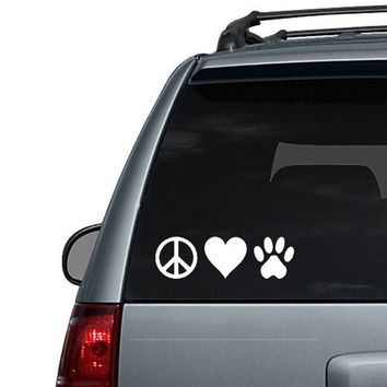 Peace Love Paw Print - Dog Paw Cat Paw - Car Decal or Computer Decal