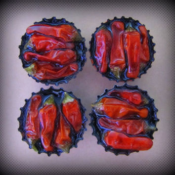 Upcycled Bottle Cap Magnets Resin Real Chili Peppers Black Confetti Handmade Recycled Reclaimed Repurposed Ceramic Magnet