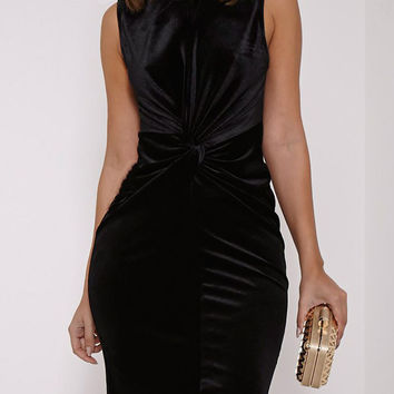 Black Velvet Knot Front Sleeveless Bodycon Dress