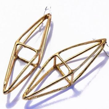 Supermarket: octahedron earrings - antique gold from mikinora