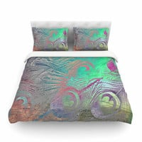 "Alison Coxon "" Indian Summer"" Purple Teal Abstract Cotton Duvet Cover"