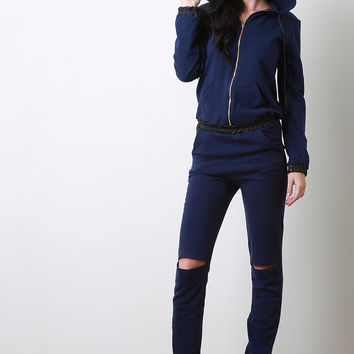 Ruched Vegan Leather Hooded Jersey Jumpsuit