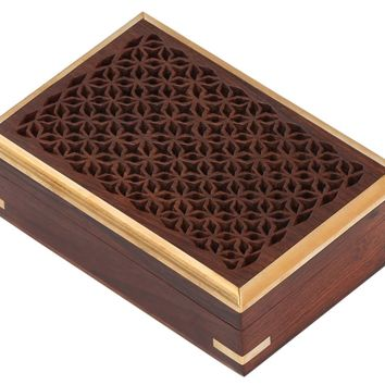 Mango Wood Jewelry/ Storage Box With Detailed Pattern, Brown By Benzara