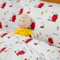 Peanuts Gang Flannel Sheet Set | Bedding with Snoopy and Woodstock Print
