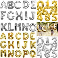 "16"" Gold / Silver Foil Letter Number Balloons Birthday Wedding Party Christmas Thanksgiving Decoration [7980701447]"