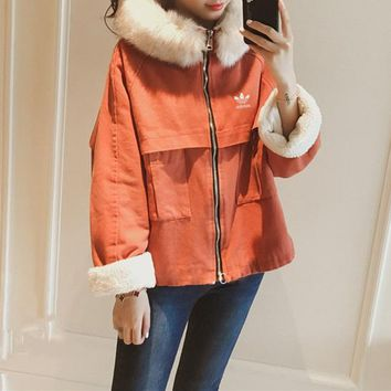 """Adidas"" Women Fashion Thickened Zip Cardigan Long Sleeve Lambswool Fur Collar Hooded Cotton-padded Clothes Short Section Coat"
