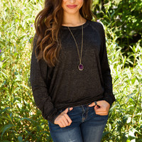 Emmie Long Sleeve Top - Charcoal