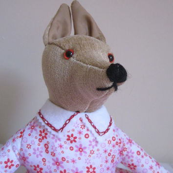 Coyote Toy Dressed Stuffed Brown Chenille Cuddly Animal Art Doll Red Floral Print Frock Ltd Edition Adult Collectible Companion Gift Item