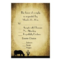 Western Wedding Menu RSVP Card