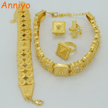 Anniyo Ethiopian Jewelry set Gold Color Chokers Necklace/Bracelet/Earrings/Ring for Women,Eritrea Habesha African #051206