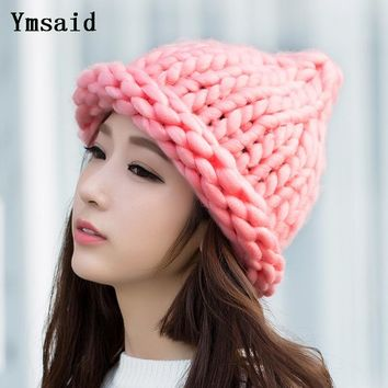 Ymsaid Women Winter Warm Hat Handmade Knitted Coarse Lines Cable Hats Knit Cap Candy Color Beanie Crochet Caps
