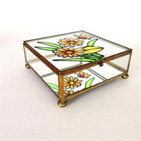 Vintage Brass Glass Butterfly Box, display box, mirrored jewelry box case ball feet, trinket box, painted stained glass style, square hinged