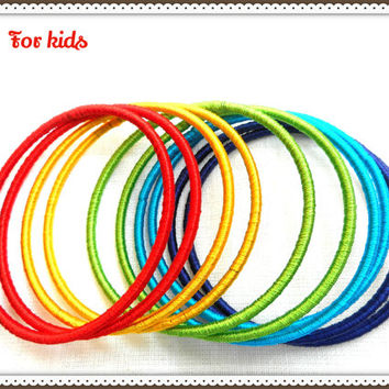 10 Kids indian bangles,Thread wrap bangles | Metal bangles | Indian bangles | bangle bracelet | multicolor children bangles | thread bangles