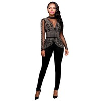 2016 New Autumn Women Jumpsuit Mesh Deep V Long Sleeve Bodysuit Fashion Diamonds Backless Sexy Black Jumpsuits And Rompers