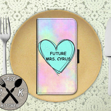 Future Mrs. Cyrus Pastel Tumblr Candy Heart Cute Custom Wallet Phone Case For The iPhone 4 and 4s and iPhone 5 and 5s and 5c