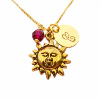 Sun Necklace - Gold Initial Necklace - Birthstone Necklace - Gold Initial Disc Necklace - Personalized Necklace - Initial Charm Necklace