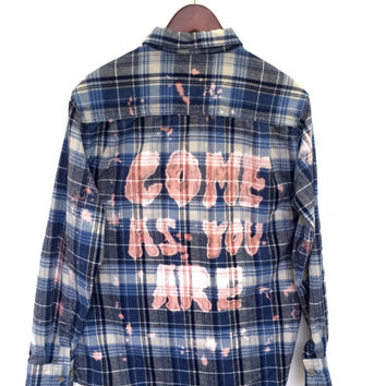 "Nirvana Plaid Shirt in Blue Flannel: ""Come As You Are""."