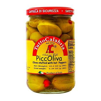 Tutto Calabria PiccOliva Olives Stuffed with Hot Peppers, 10.2 oz (290 g)
