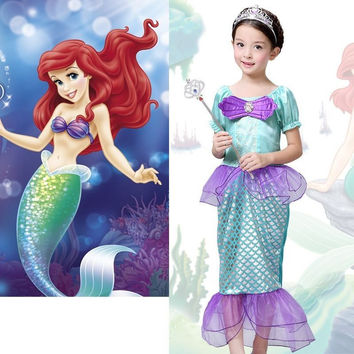 Kids Girls Dresses The Little Mermaid Costume Princess Ariel Party Fairy Dress Cosplay