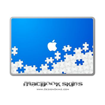 Blue & White Puzzle MacBook Skin