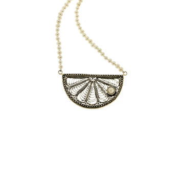 Ca D'zan Sunset Sterling Silver White Pearl Necklace
