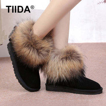 TIIDA Fashion Top Quality Raccoon fur Snow Boots Women Boots Genuine Leather Winter Warm Snow Boots Ankle Boots Free Shipping
