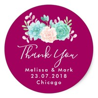 Pastel Pink & Green Floral Bouquet Thank You Classic Round Sticker