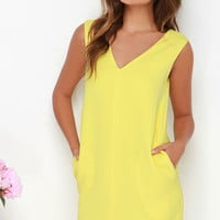Shift in Perspective Yellow Shift Dress