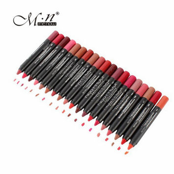 19Pcs/lot MENOW Makeup Matte Kiss Proof Lipstick Long Lasting Effect Powdery Soft Waterproof Matte Lipstick Lip Pencil Crayon