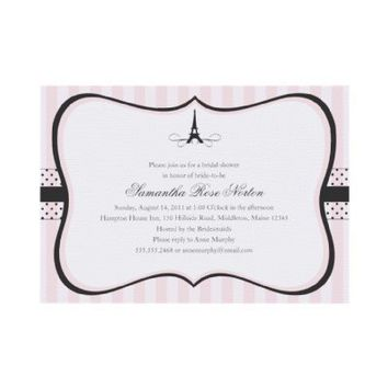 Eiffel Tower Paris Bridal Shower Invitations from Zazzle.com