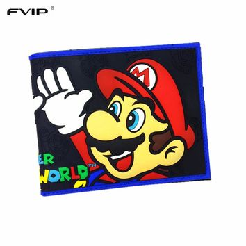 FVIP Comics Wallet Super Mario Dc Marvel the Avengers Batman Flash Superman 3D Purse Logo Credit Card Holder Man Wallet