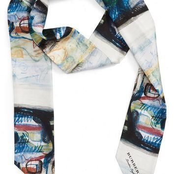 Burberry Reclining Figure Bunched Print Skinny Silk Scarf | Nordstrom