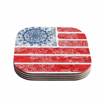 "Victoria Krupp ""Americana Mandala Flag"" Red Holiday Coasters (Set of 4)"