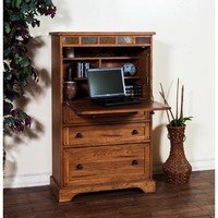 Sunny Designs Sedona Laptop Armoire In Rustic Oak