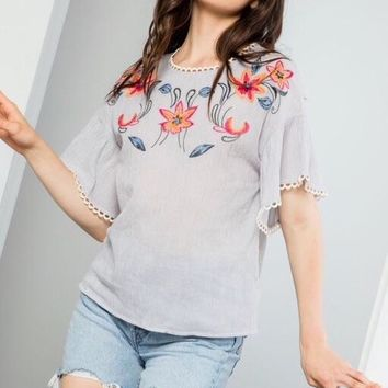 Emma Blue THML Embroidered Top