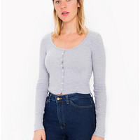 2x1 Rib Long Sleeve Crop Top | American Apparel