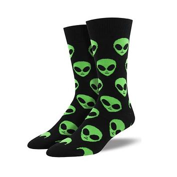 Novelty Socks COME IN PEACE BLACK Fabric Cotton Crew Alien Mnc1537 Blk