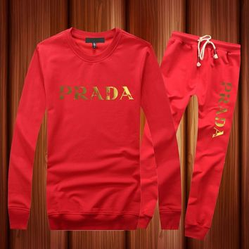 PRADA Casual Long Sleeve Shirt Top Tee Pants Trousers Set Two-Piece Sportswear
