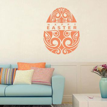 ik2670 Wall Decal Sticker Egg Happy Easter wishes shop stained glass window