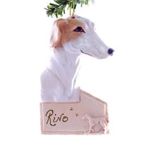 Greyhound Personalized ornament - greyhound personalized Christmas ornament with your dogs name - free personalization