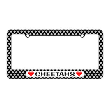 Cheetahs Love with Hearts - License Plate Tag Frame - Polka Dots Design
