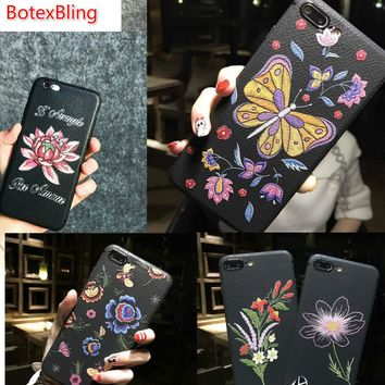 *Butterfly snake Soft Leather Silicone case for iphone X case 8 8plus for iphone 7 case 7plus 6 6s plus 6plus cover