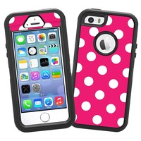 "White Polka Dot on Raspberry ""Protective Decal Skin"" for OtterBox Defender iPhone 5s Case"