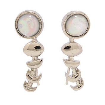 Blackheart Opal Moon Phases Climber Earrings
