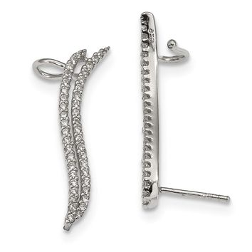 3 x 30mm (1 3/16 Inch) Sterling Silver CZ Cuff Ear Climber Earrings