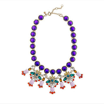 J Crew Inspired Crystal Color Statement Necklace