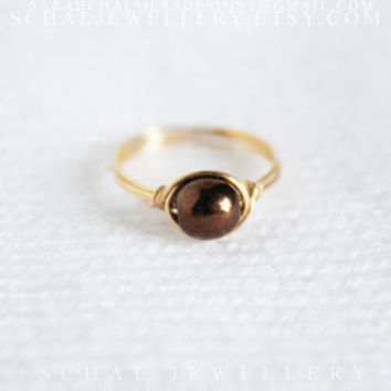 Chocolate Ring, 14K gold filled, wire wrapped ring, handmade jewelry, unique ring, custom